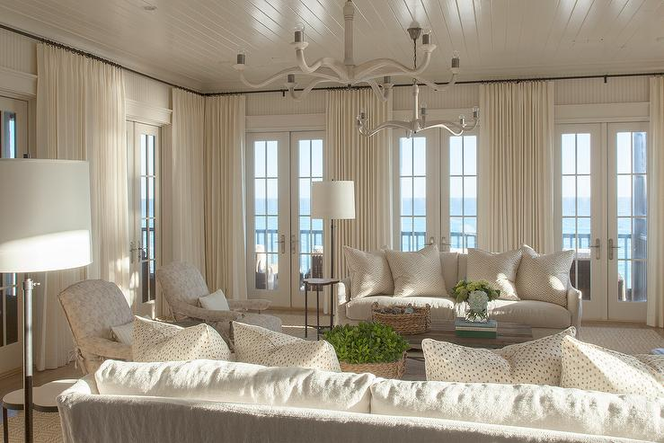 Ivory Coastal Living Room With French Doors Cottage
