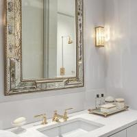 Antiqued Mirrored Bathroom Vanity with White Marble Top ...
