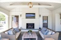 White Brick Outdoor Fireplace with Flat Panel TV Niche ...