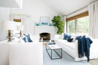 White And Blue Coastal Living Room Design Ideas