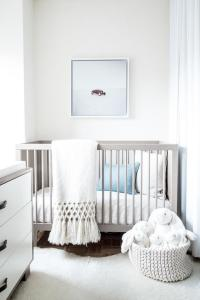White and Gray Boy Nursery with Blue Accents