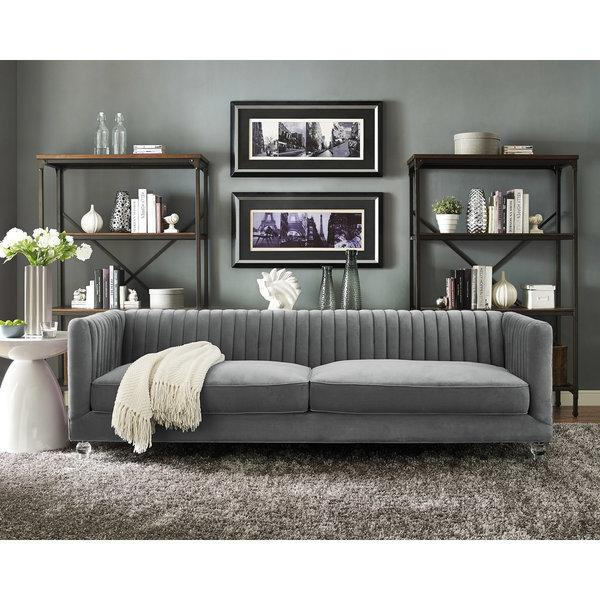 Grey Velvet Sofa Abbyson Living Claridge Dark Grey Velvet Fabric Tufted Sofa
