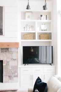 Living Room Fireplace Built In Shelf with Flat Panel TV