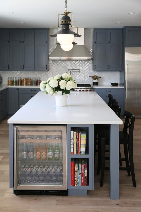 Black And White Wallpaper Decor Steel Gray Kitchen Island With Glass Beverage Fridge Next