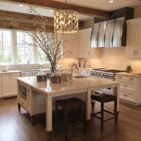Kitchen Island as Dining Table with Backless Brown Leather ...