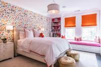Pink and Orange Girl bedroom with Lulu DK Butterfly Multi ...