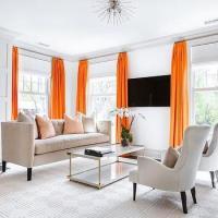 Orange Trim On White Cafe Curtains Design Ideas