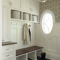 Mudroom with Wallpaper and Beaboard Wainscoting