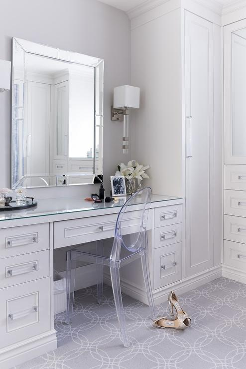 Bathroom Vanity With Makeup Table White And Gray Dressing Room With Ghost Chair