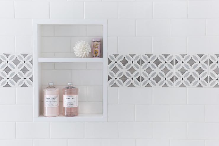 White Shower Tiles with Gray Border Tiles Framing Tiled