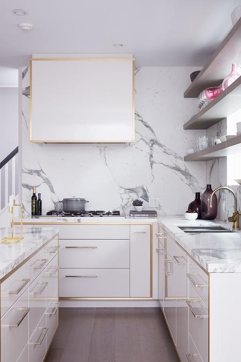 Girl And Marble Wallpaper White Kitchen Cabinets With Gold Trim Contemporary Kitchen