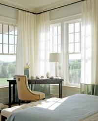 Corner Bedroom Desk Under Windows with Green Banded ...