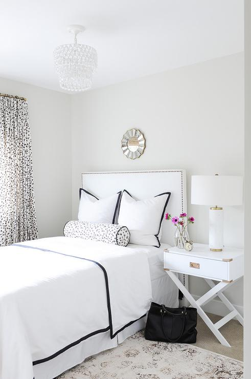 White Twin Bed With Storage Black And White Bedroom With White Campaign Nightstand