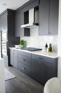 Dark Gray Flat Front Kitchen Cabinets with Gray Mosaic ...