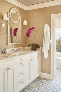 White and Gold Bathroom with Gray Tile Floor ...