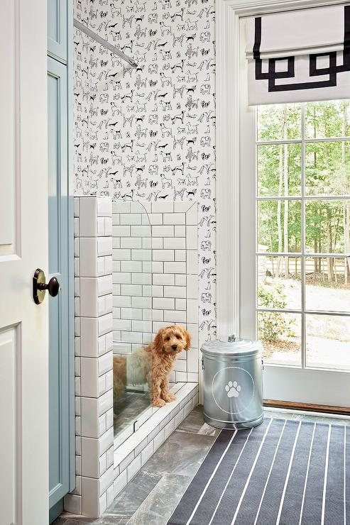 Black Beadboard Wallpaper Mudroom Dog Shower Design Ideas
