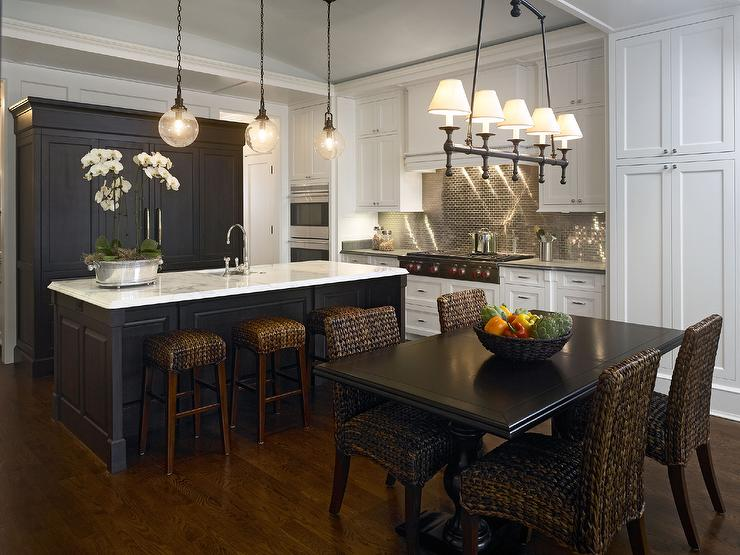 Black Metallic Wallpaper Black And White Kitchen With Stainless Steel Mini Brick