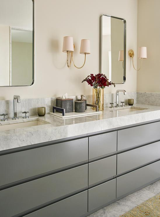 Free Standing Tub White And Gray Master Bathroom With Gray Dual Vanity