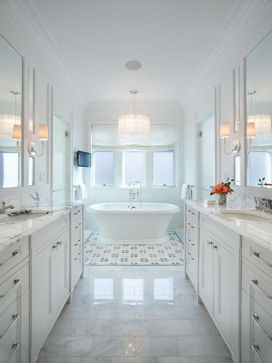 Roll In Shower Long Master Bathroom With Washstands Facing Each Other