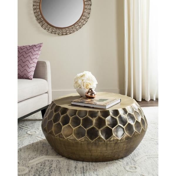 Hand Crafted Mirrors Antique Brass Honeycomb Design Coffee Table