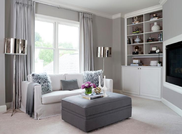 Gray Living Room with Corner TV Niche
