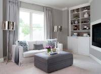 Gray Living Room with Corner TV Niche - Contemporary ...