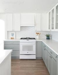 Kitchen with White Top Cabinets and Gray Bottom Cabinets ...