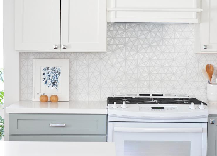white gray kitchen features white top cabinets gray bottom white kitchen cabinet glass metal backsplash tile backsplash