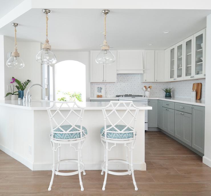 white gray kitchen features white upper cabinets gray white kitchen cabinet glass metal backsplash tile backsplash
