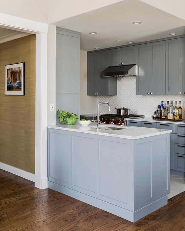 Gray Kitchen With White And Gray Chevron Backsplash Tiles