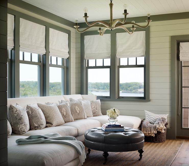 White and Green Beach Cottage Living Room with Green Moldings - living room chaise lounge