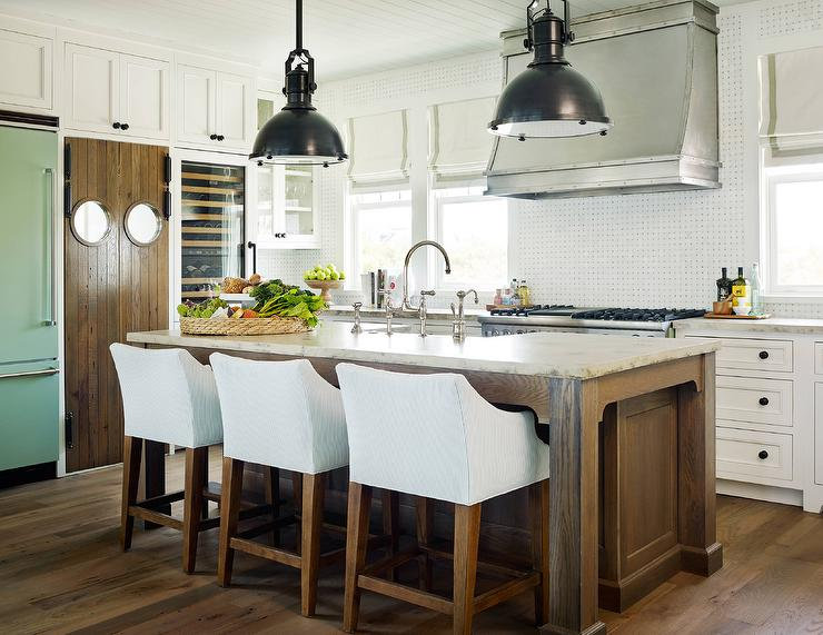 Country Gray Kitchen Cabinets Beach Kitchen With Black And White Basketweave Backsplash