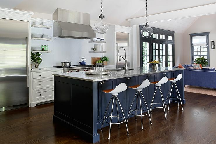 Stainless Steel Topped Kitchen Islands Navy Kitchen Island Design Ideas