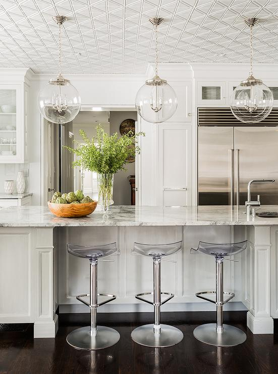 Kitchen Island With Barstools White Kitchen With Regina Andrew Large Globe Pendants And