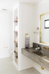 Gray and Gold Bathroom with Encaustic Cement Tile Circulos ...