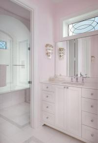 Pale Pink Girls bathroom with White Capiz Wall Sconce ...