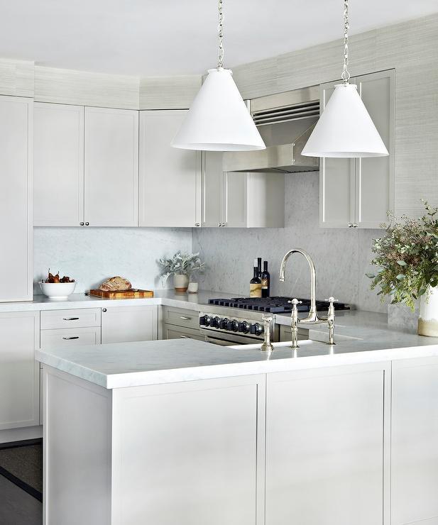 white gray kitchen features gray shaker cabinets paired kitchen sink backsplash ideas ehow