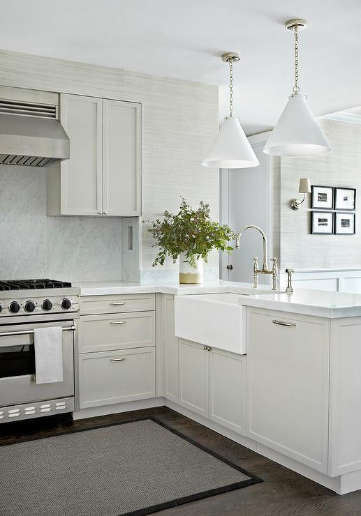white gray kitchen features gray shaker cabinets paired white kitchen cabinet glass metal backsplash tile backsplash