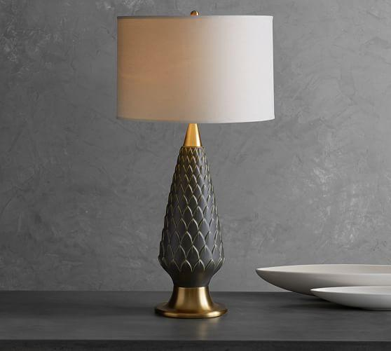 Brass and Gray Scallop Design Lamp Base