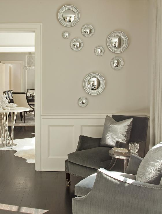 Gray velvet nailhead Chairs with Silver Metallic Pillows - silver living room furniture