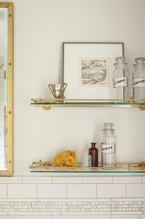 Wall Mounted Headboards Glass And Brass Vintage Glass Shelves Above Toilet