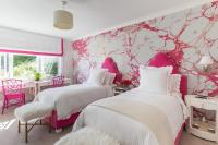 Silver and Pink Girls Bedroom with Hot Pink Headboards ...