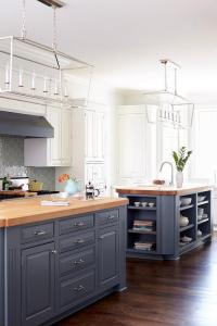 White and Gray KItchen with Light Blue Viking Stove ...