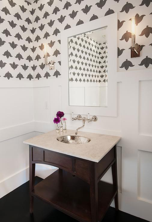 Black And Silver Floral Wallpaper Powder Room With Board And Batten Walls And Hammered Metal