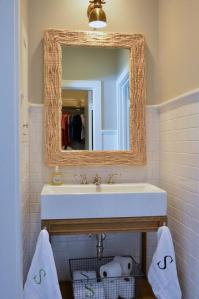 Bathroom with Seagrass Mirror and Weathered Oak Single ...