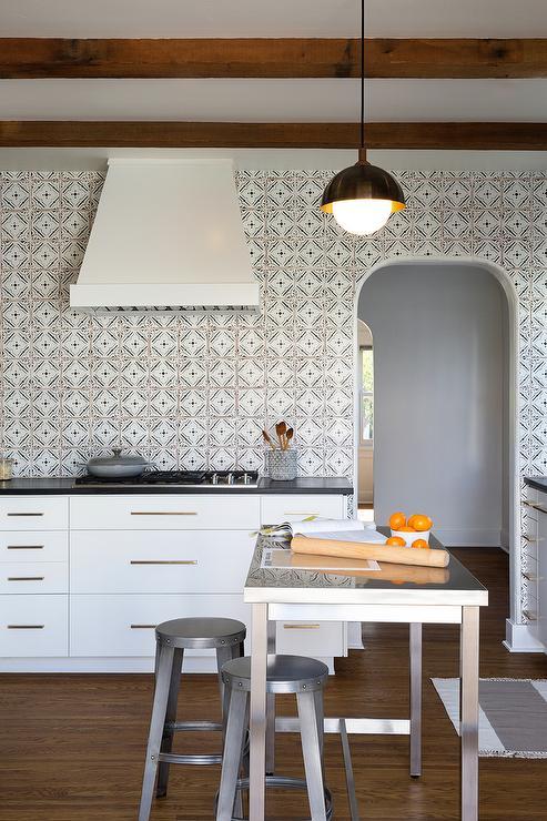 black white quatrefoil kitchen backsplash tiles modern kitchen white kitchen cabinet glass metal backsplash tile backsplash
