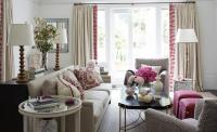 Blush Pink Sofa with Brass and Lucite Cocktail Table ...