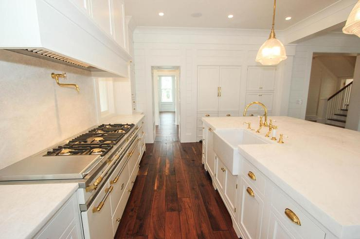 Antique White Kitchen Island White Kitchen With White Honed Marble Counters And