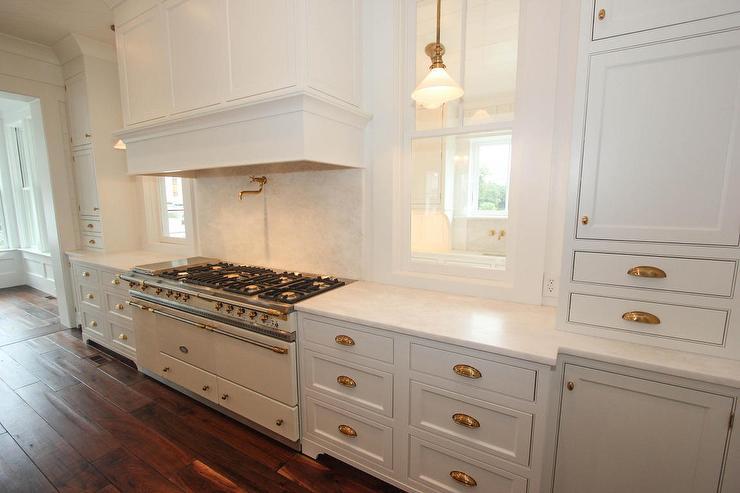 Pot Girl Wallpaper White Kitchen With White Lacanche Range Transitional