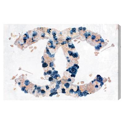 Black And White Marble Wallpaper Chanel Gold Foil Cc Monogram Logo Art Print